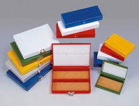 Boxes for slides with hinged lid