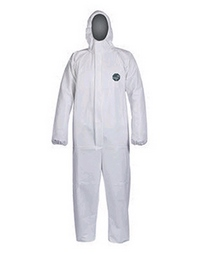 Ankles Shield-Safety White Polypropylene Coverall with Hood Cuffs XL Size 100